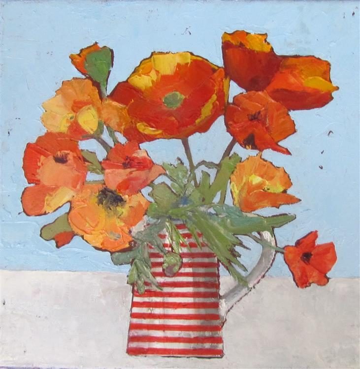 Anni Robinson - Poppies in Striped Jug - Oil on canvas