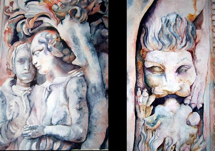 Angels - watercolour - 30cm  x 40cm - Ann Jenkins & Lion - Watercolour - 22cm x 40cm - Ann Jenkins