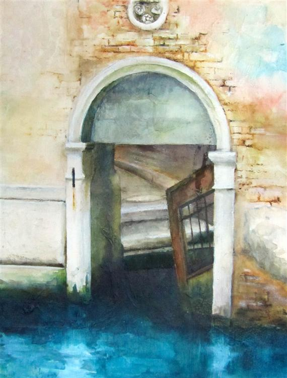 Alastair Cadden - Doorway on the Canal - Ink on board