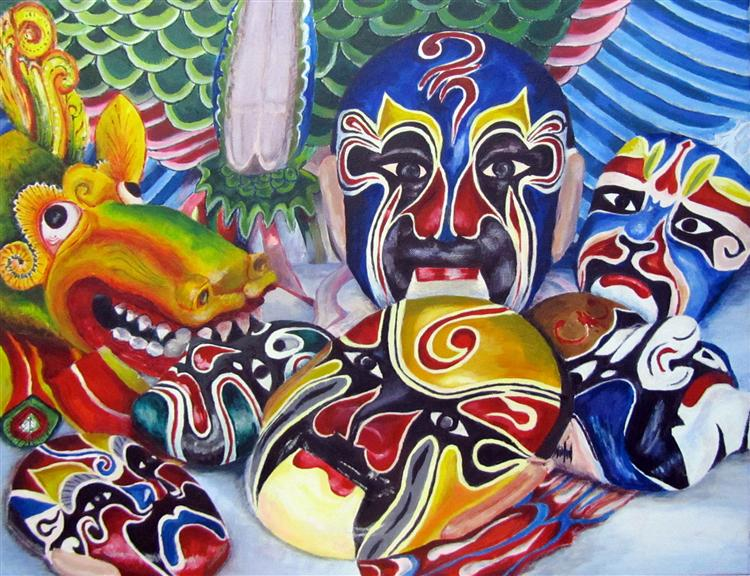 "Chinese Masks - Heather Nicholls - 20"" x 30"" - acrylic on canvas"
