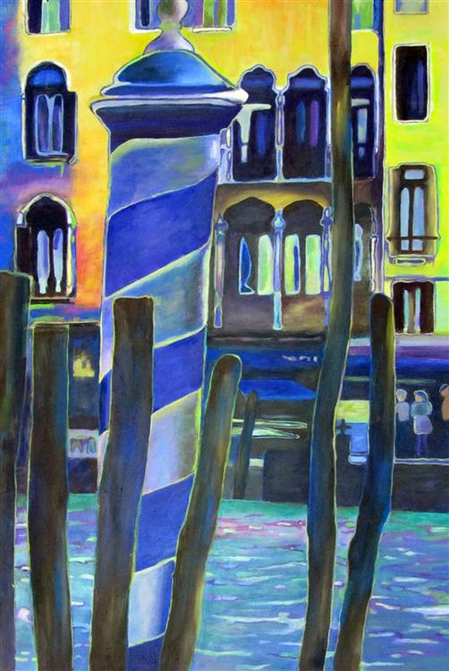 Poles in Venice 2 - Jan Bennett - Acrylic on canvas