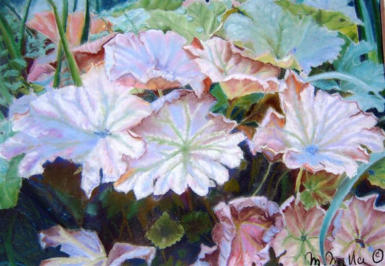 Lily Leaves - Michele Miller - Oil Pastel
