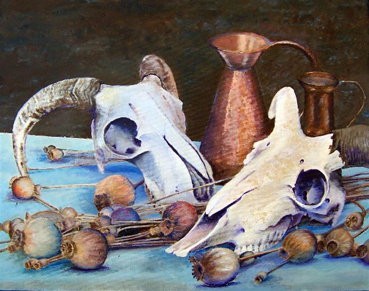 Skulls and Pitchers - acrylic on canvas - Phil Jenkins
