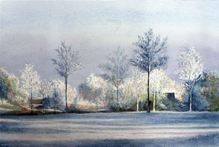 Landscape in Winter - Reta McQuarrie - watercolour on paper - 42cms x 30cms