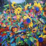 Garden with sunflowers .     100cm x 100cm  acrylic