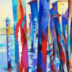 Mooring Poles from San Vio             50cm x 100cm     mixed media on canvas