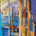 Mooring Poles at the Rialto Bridge 70cm x 70cm  Acrylic