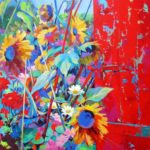 Garden with Red Door 100cm x 100cm Acrylic